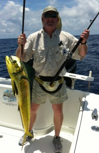 Angler fishing with Capt. Rob Harris at Dream Catcher Charters boats a nice dolphin