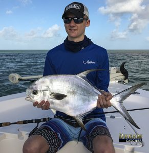 Permit fish caught by an angler fishing with Dream Catcher Charters