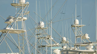 Deep sea fishing boats tuna towers and crows nests